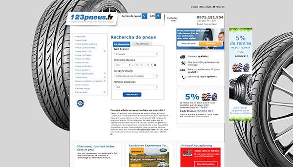 Page d'accueil du site 123pneus