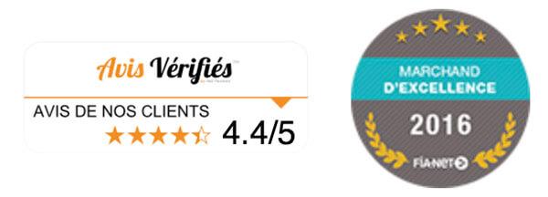 Allopneu est noté 4,5 sur 5 sur le site Avis Vérifiés et élu Site premium - marchand d'excellence en 2015 par Fia-net.
