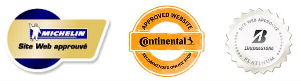 Les labels Continental, michelin et bridgestone obtenus par Allopneus.