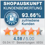 La version allemande de bonspneus est notée 4.58/5 chez shopauskunft.de.
