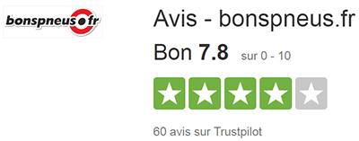 Bonspneus est noté 7,8 sur 10 chez Trustpilot.