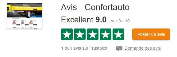 Note de Confortauto sur Trustpilot.