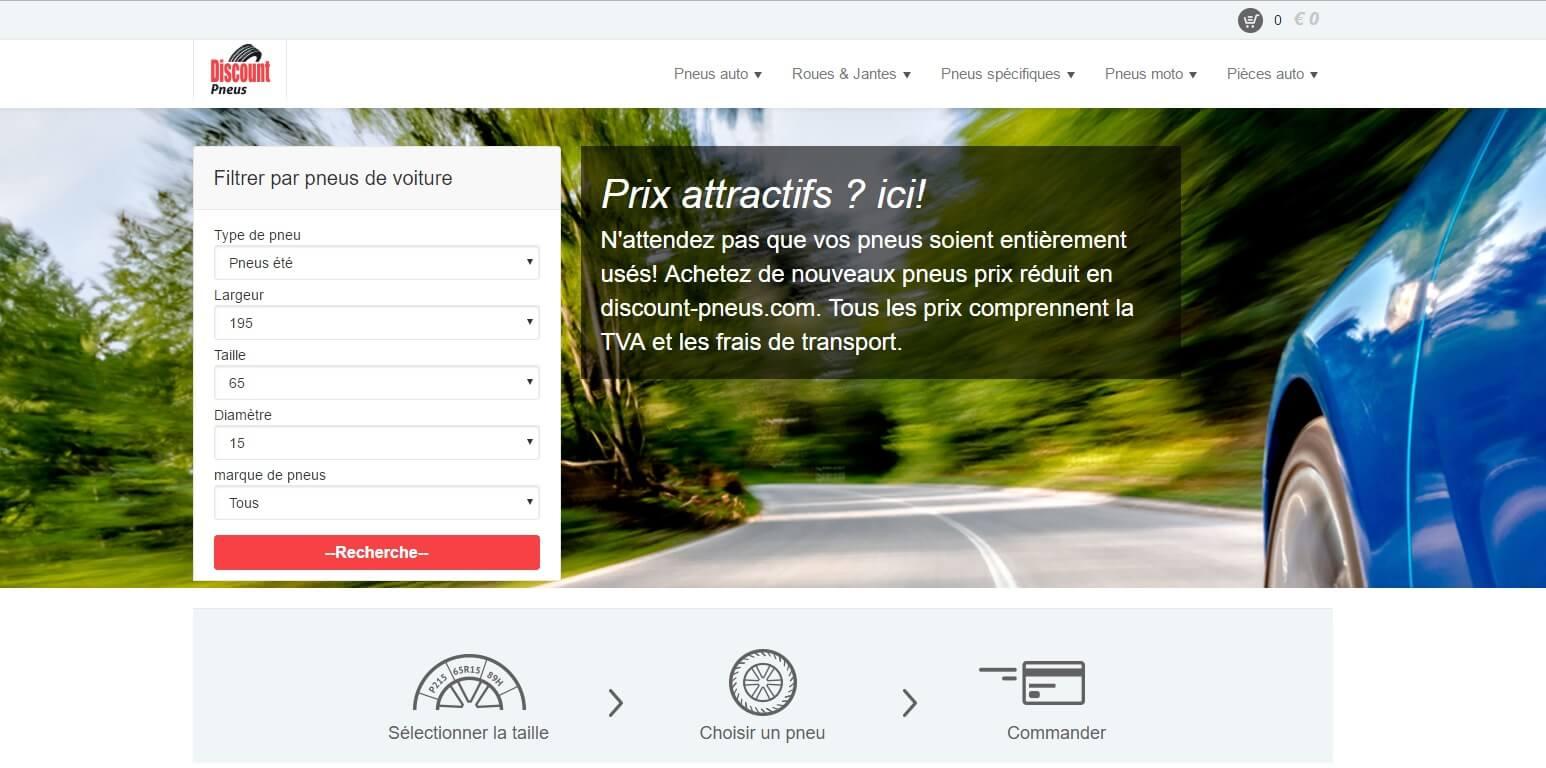 Page d'accueil du site Discount-pneus.