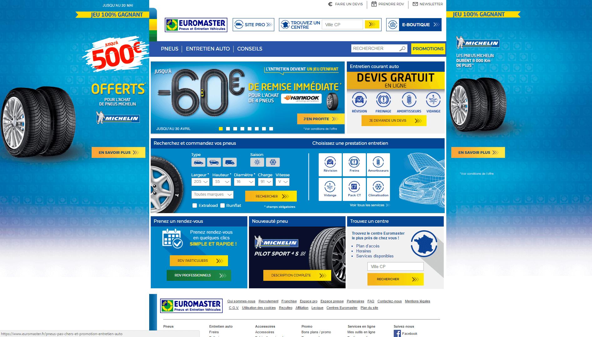 Page d'accueil du site Euromaster.