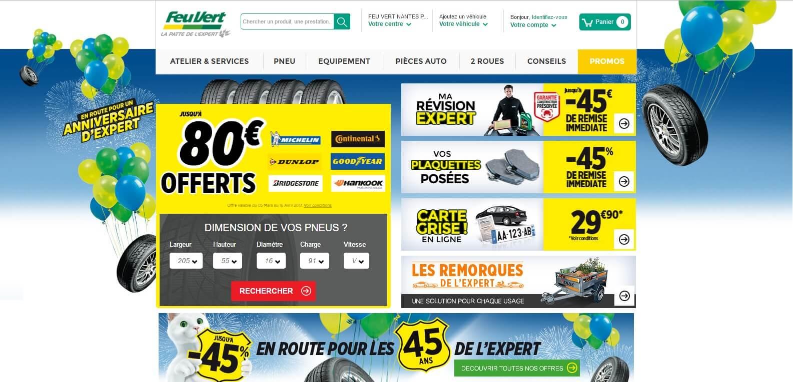 Page d'accueil du site Feu vert.