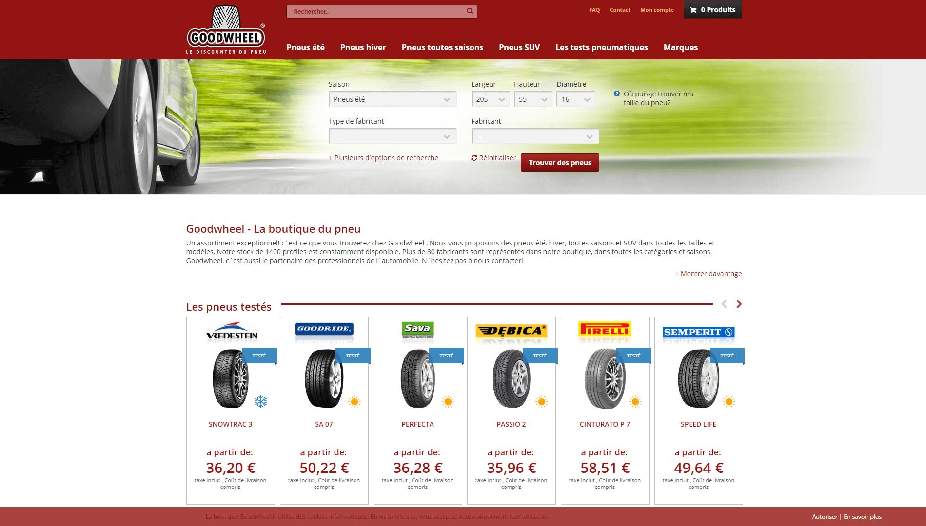 Page d'accueil du site Goodwheel.