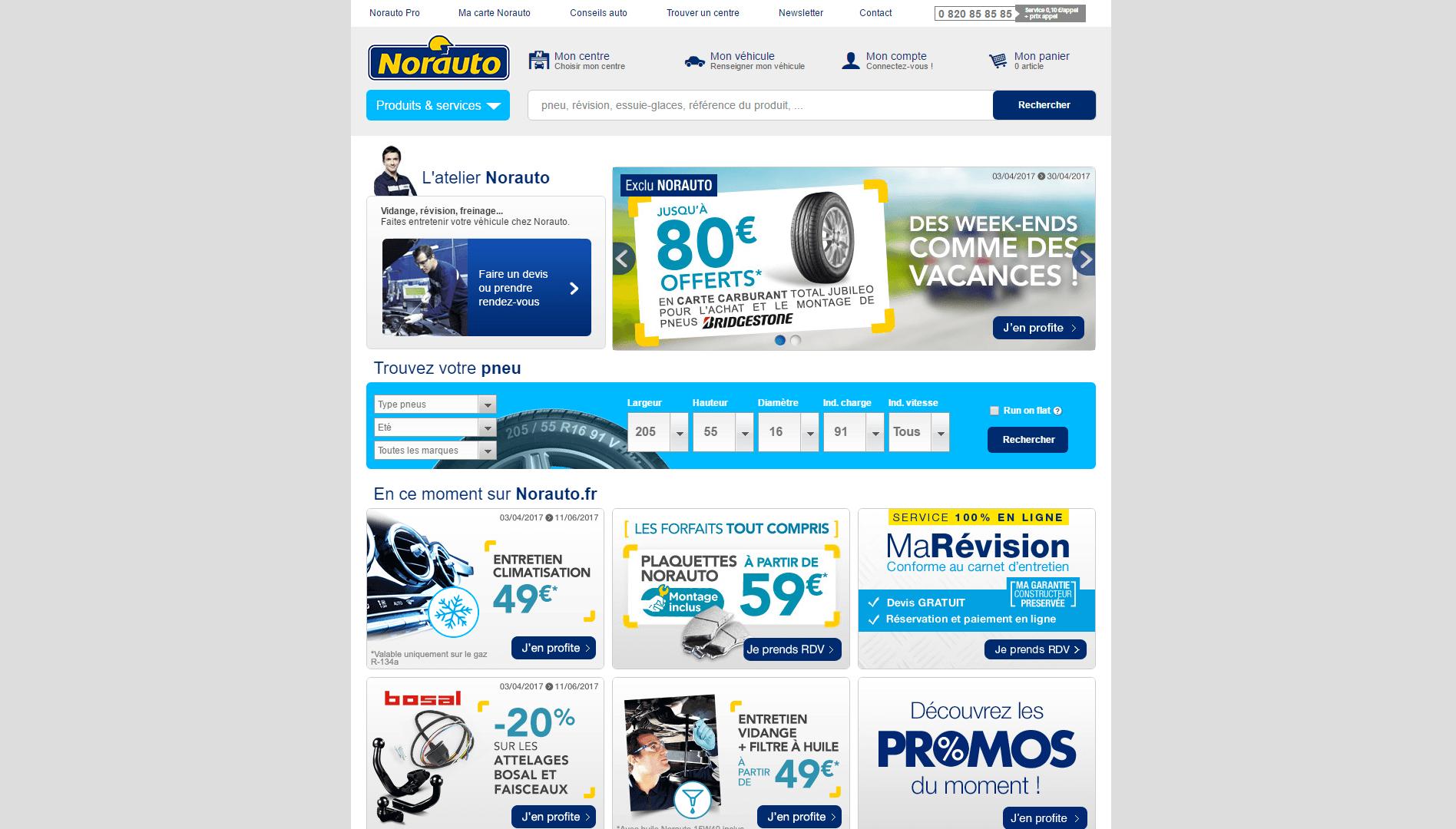 Page d'accueil du site Norauto.