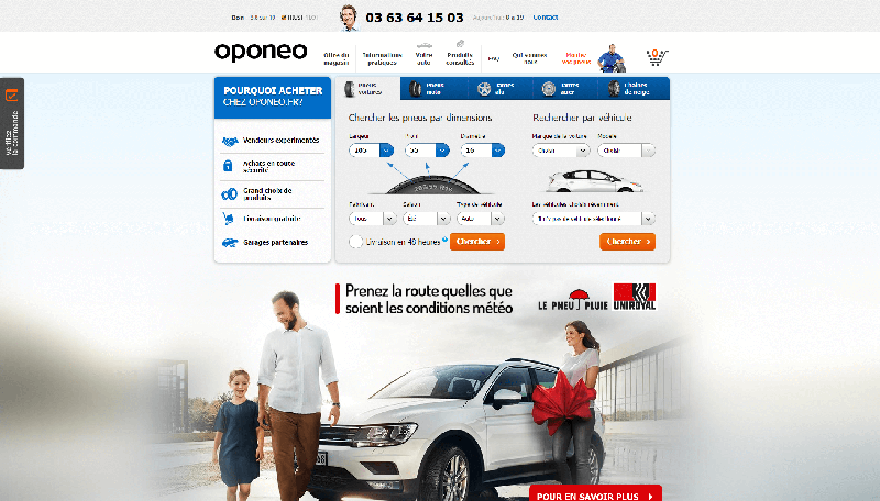 Page d'accueil du site Oponeo.