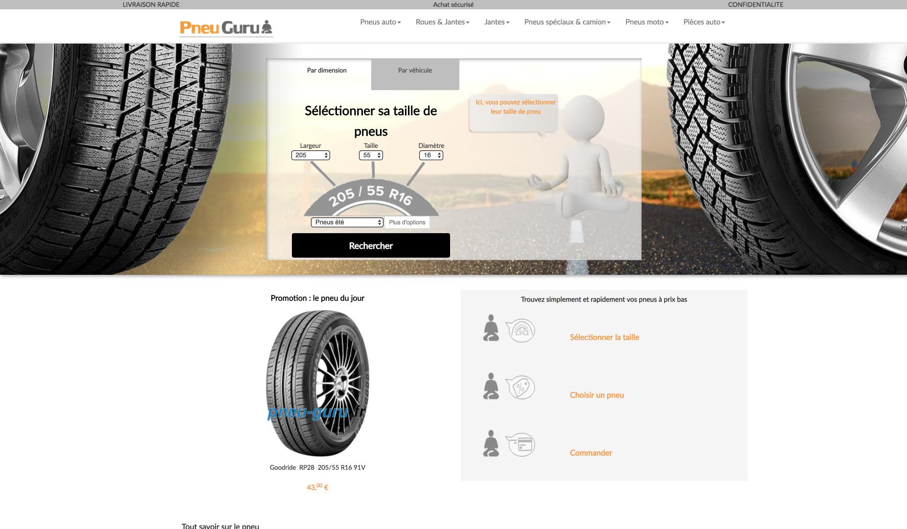 Page d'accueil du site PneuGuru.