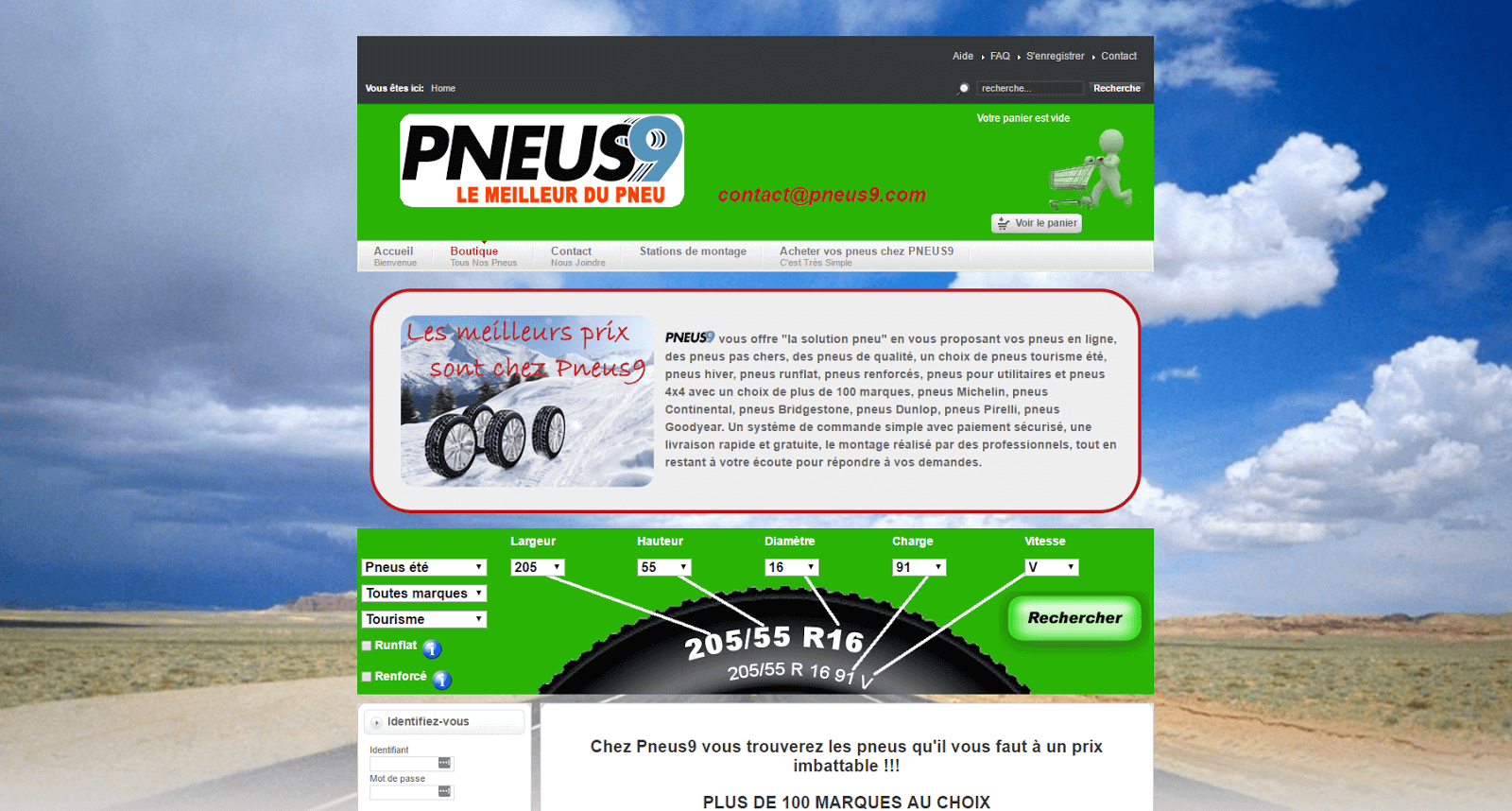 Page d'accueil du site Pneus9.