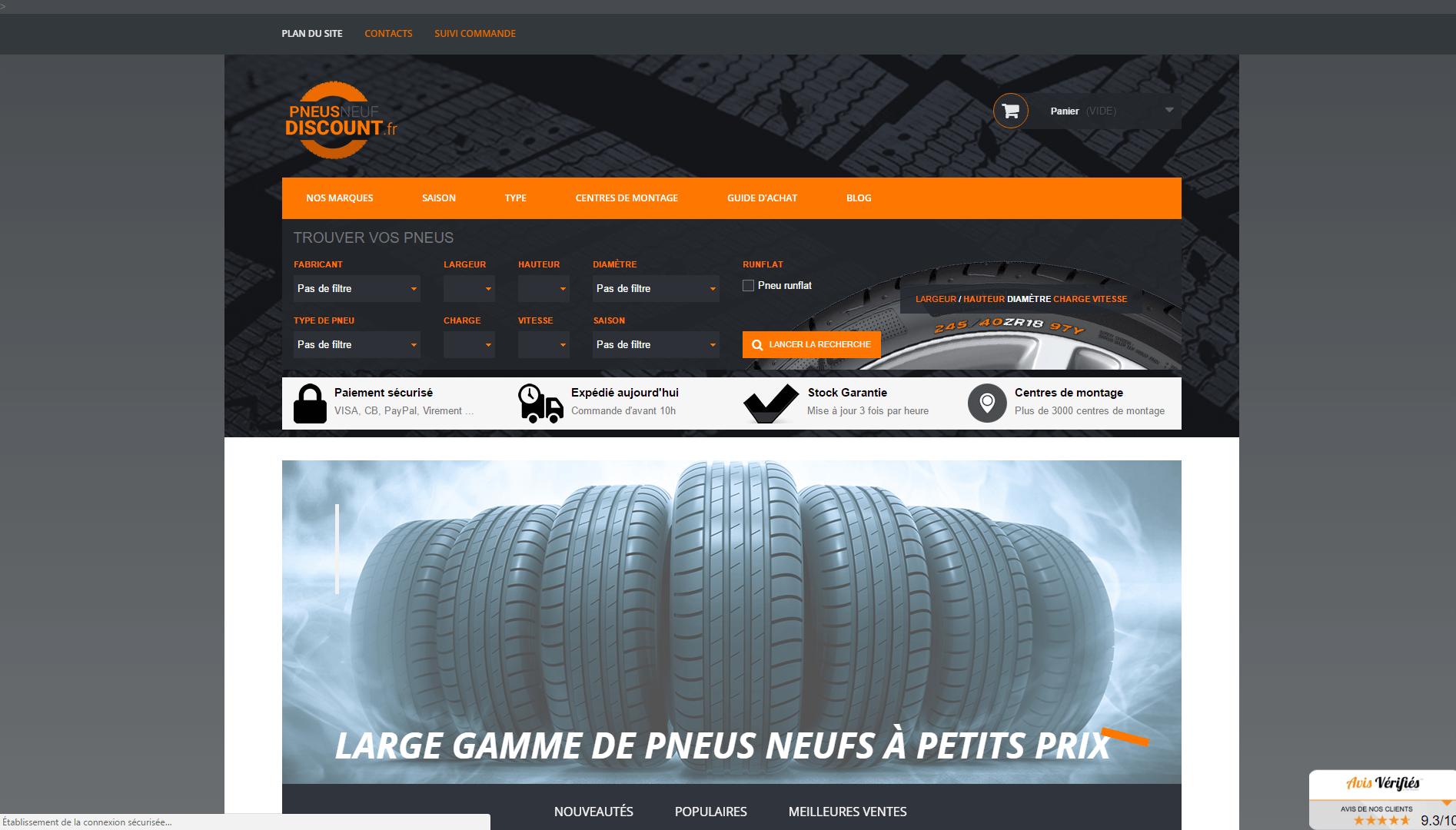 Page d'accueil du site Pneusneufdiscount.