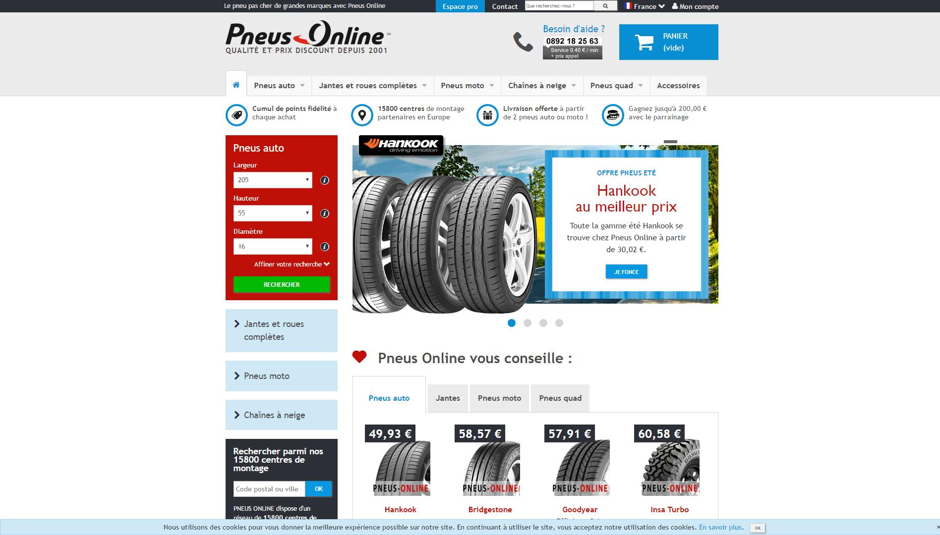 Page d'accueil du site Pneus Online.