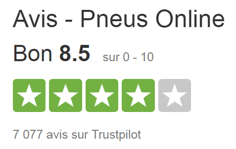 Avis de Pneus Online sur Trustpilot.
