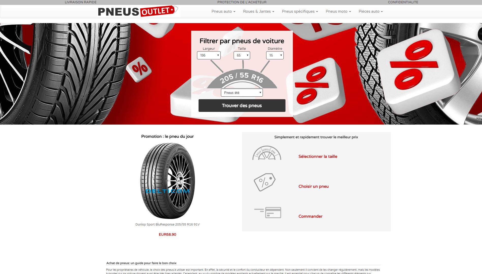 Page d'accueil du site Pneusoutlet.
