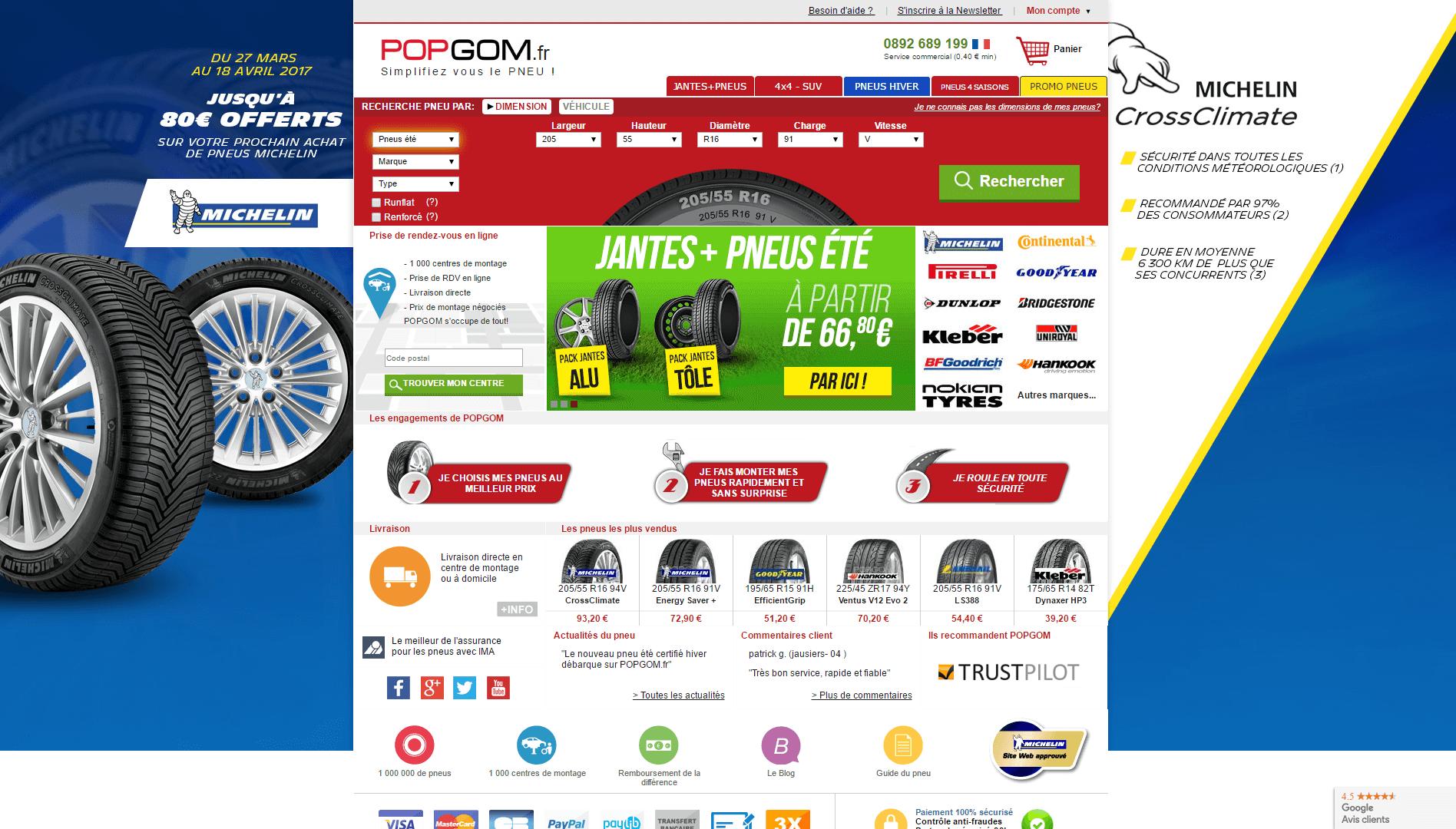 Page d'accueil du site Popgom.