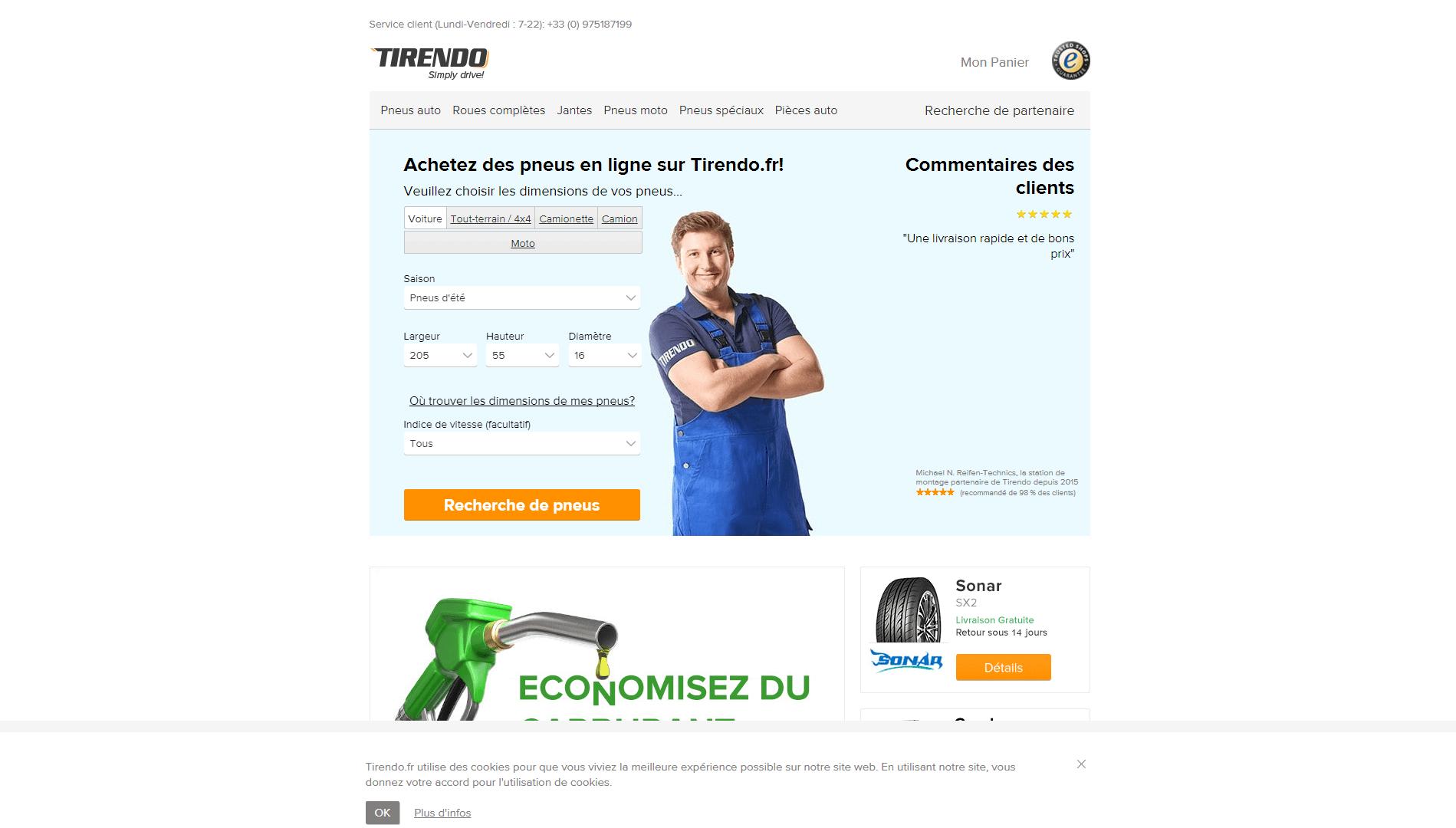 Page d'accueil du site Tirendo.