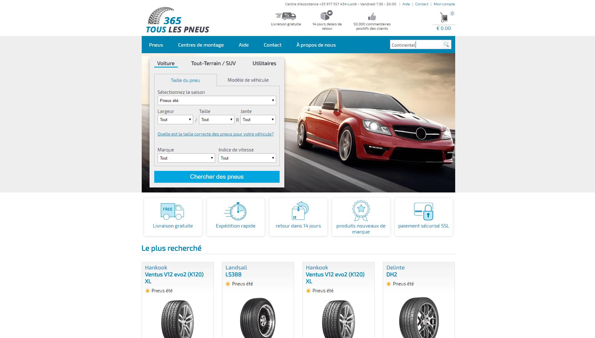 Page d'accueil du site Touslespneus365.