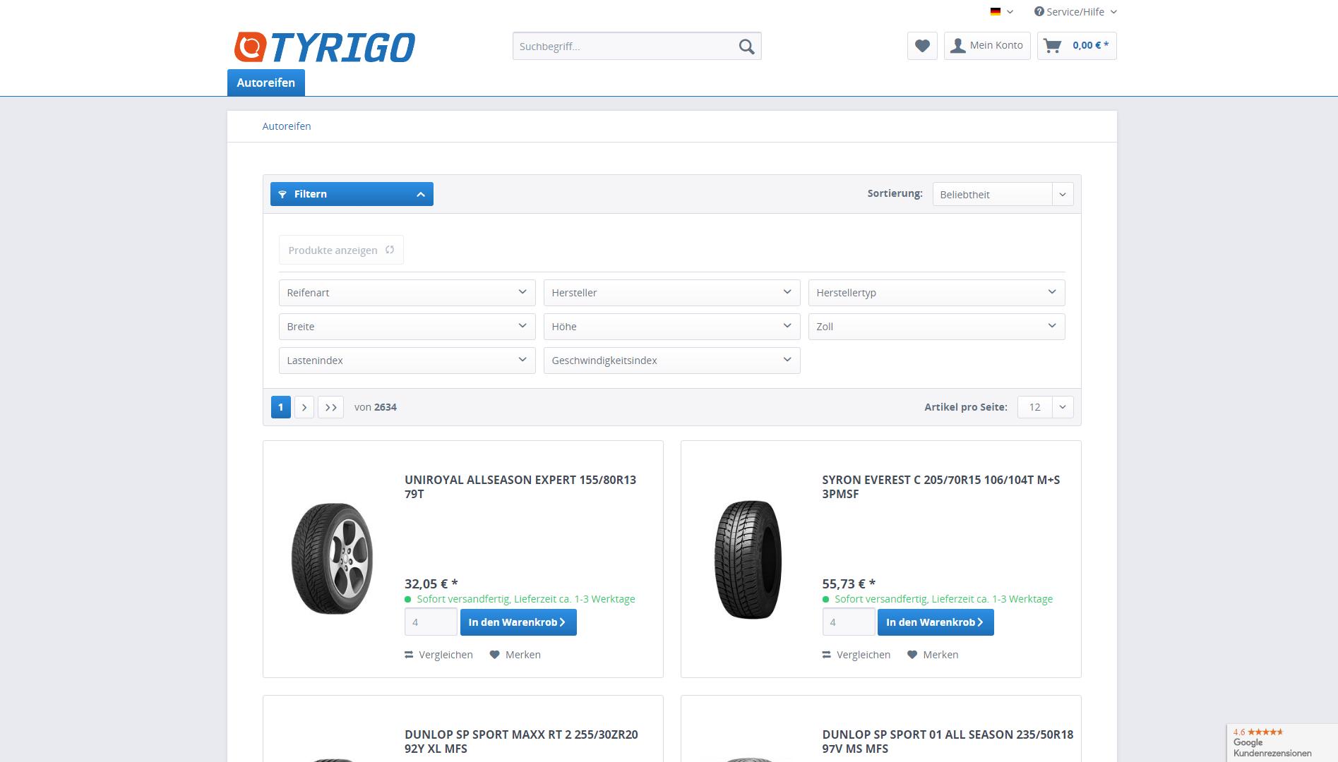 Page d'accueil du site Tyrigo.